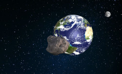 An asteroid with a diameter equal to half the height of the Pyramid of Cheops is flying towards Earth