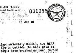Department of the Air Force report. Unexplained lights