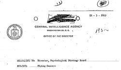 CIA report about Flying Saucers to Psychological Strategy Board