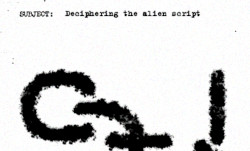 A secret document with a message from aliens