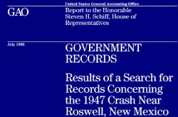 The Roswell incident. And again the veil of mystery. Report to the Honorable Steven H. Schiff House of Representatives
