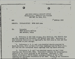 NSA Report. Declassified UFO sightings by air forces, 1955